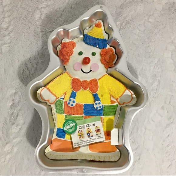 Vintage 1993 Wilton Cute Clown Cake Pan with Decorating Insert